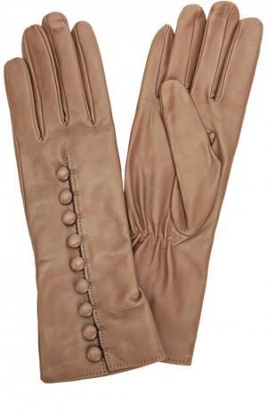 Кожаные перчатки с декоративными пуговицами Sermoneta Gloves. Цвет: бежевый
