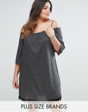 Diya Платье в горошек с открытыми плечами и отделкой кроше Plus. Цвет: черный