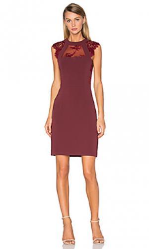 Кружевное платье с вырезом The Kooples. Цвет: вишня