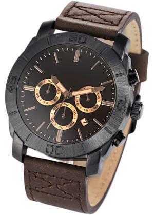 Мужские наручные часы-хронограф на кожаном браслете (коричневый) bonprix. Цвет: коричневый