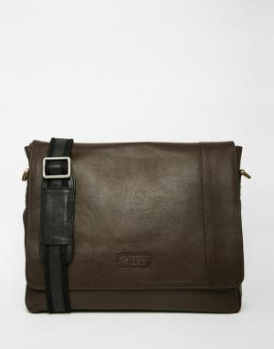 Racing Green Кожаная сумка почтальона. Цвет: коричневый