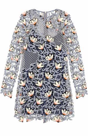 Кружевное мини-платье с длинным рукавом self-portrait. Цвет: разноцветный