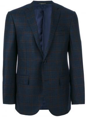 Клетчатый однобортный пиджак Corneliani. Цвет: синий