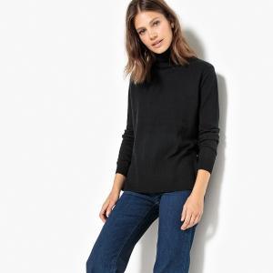 Пуловер-водолазка с разрезами по бокам La Redoute Collections. Цвет: розовый,светло-серый меланж,сине-зеленый,темно-фиолетовый,черный