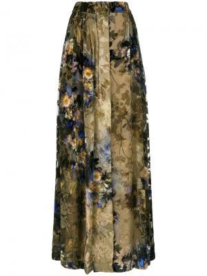 Плиссированная юбка макси с цветочным принтом Alberta Ferretti. Цвет: жёлтый и оранжевый