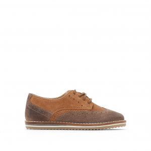 Ботинки-дерби из двух материалов Loup ASTER. Цвет: серо-коричневый