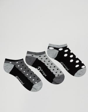 Penguin Набор из 3 пар носков для кроссовок Pengiun. Цвет: черный