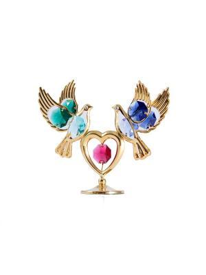Фигурка декоративная Голуби с сердцем CRYSTOCRAFT. Цвет: золотистый