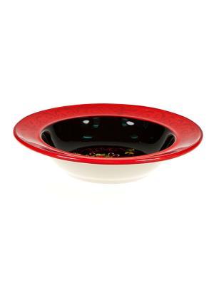Набор тарелок суповых 22см Винтаж Новогодний Certified International. Цвет: черный, бежевый