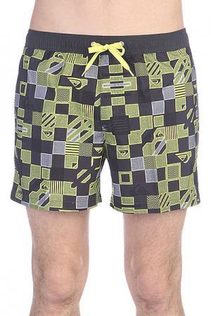 Шорты пляжные  Checkered Vl15 Jamv Volley Sulphur Quiksilver. Цвет: черный,желтый