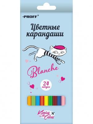 Карандаши 24 цвета PROFF. Цвет: голубой