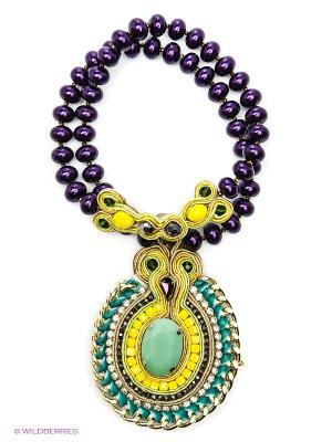 Колье Kameo-bis. Цвет: зеленый, фиолетовый, желтый