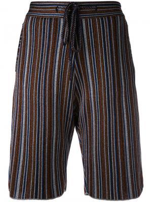 Полосатые бермуды с эластичным поясом Marco De Vincenzo. Цвет: многоцветный