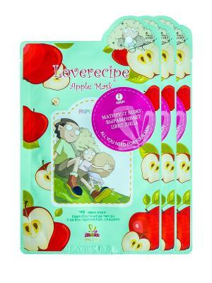 Маска для лица SALLYS BOX с экстрактом яблока, х 3 шт. Sally's. Цвет: зеленый