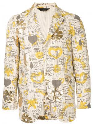 Пиджак в тонкую полоску Comme Des Garçons Homme Plus. Цвет: жёлтый и оранжевый