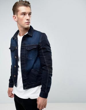 Juice Джинсовая куртка с отделкой в байкерском стиле. Цвет: синий