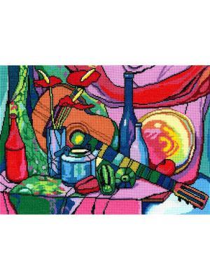 Натюрморт с гитарой набор для вышивания 40х29 см NITEX. Цвет: красный, зеленый, синий