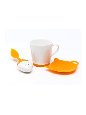 Набор для приготовления чая из керамики с отделкой силиконом : кружка, ситечко, подставка OURSSON. Цвет: оранжевый