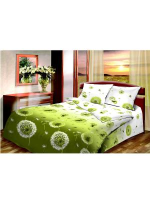 Постельное белье Василиса. Цвет: зеленый, белый