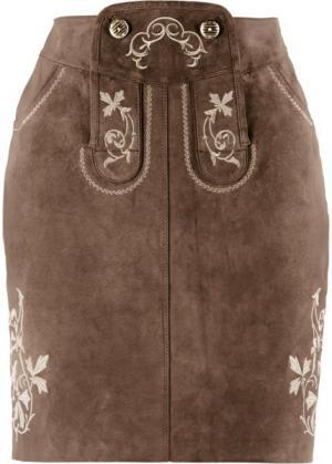 Кожаная юбка с вышивками (темно-коричневый) bonprix. Цвет: темно-коричневый