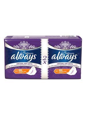 Женские гигиенические прокладки Platinum Collection Normal Plus Duo 20шт Always. Цвет: синий
