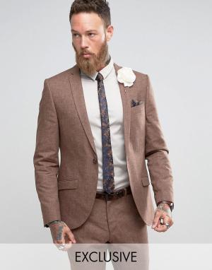 Heart & Dagger Приталенный пиджак с добавлением льна Wedding. Цвет: коричневый