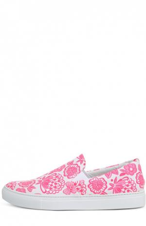 Текстильные слипоны с принтом Christopher Kane. Цвет: розовый