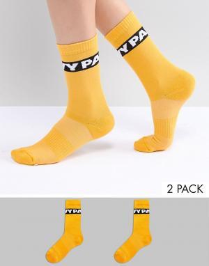 Ivy Park 2 пары оранжевых носков с логотипом. Цвет: оранжевый