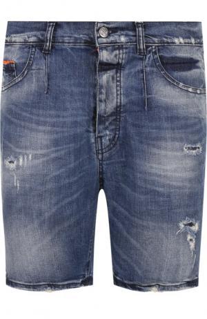 Джинсовые шорты с потертостями Frankie Morello. Цвет: синий