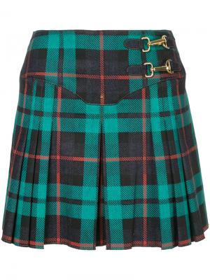 Плиссированная юбка с узором тартан Esteban Cortazar. Цвет: зелёный