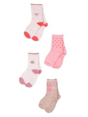 Носки, 4 пары Malerba. Цвет: бежевый, коралловый