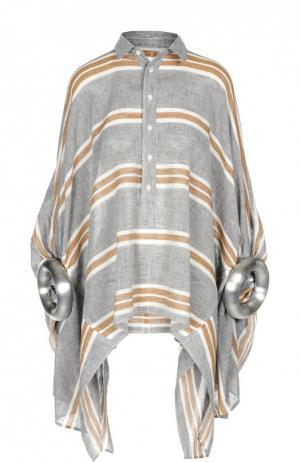 Блуза свободного кроя с декорированными рукавами Junya Watanabe. Цвет: серый