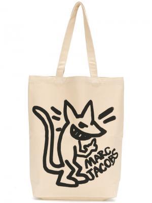 Stinky rat print canvas bag Marc Jacobs. Цвет: телесный