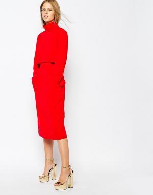 The Laden Showroom Джинсовая юбка‑карандаш с завышенной талией и карманами Show. Цвет: красный