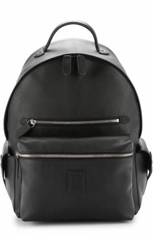 Кожаный рюкзак с внешними карманами на молнии Bertoni. Цвет: черный