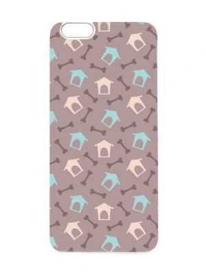 Чехол для iPhone 6 Будки и косточки Chocopony. Цвет: серо-коричневый, бледно-розовый, голубой, кремовый