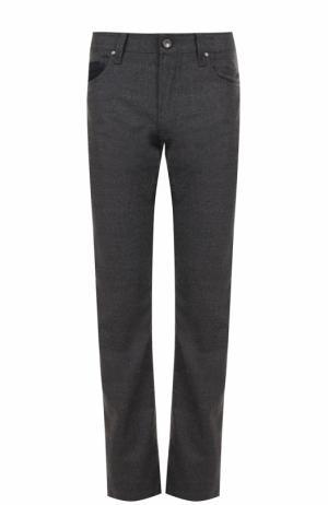Шерстяные брюки прямого кроя Cortigiani. Цвет: серый