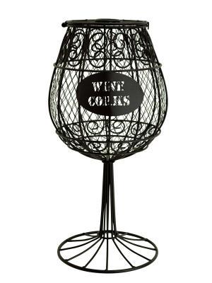Декоративная емкость для винных пробок/мелочей Wine Glass BOSTON. Цвет: коричневый