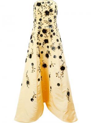 Платье с цветочной вышивкой Oscar de la Renta. Цвет: жёлтый и оранжевый