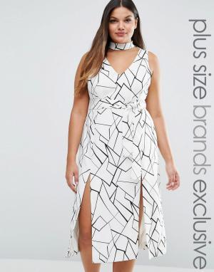 Lavish Alice Plus Платье миди с двумя разрезами и абстрактным принтом. Цвет: мульти