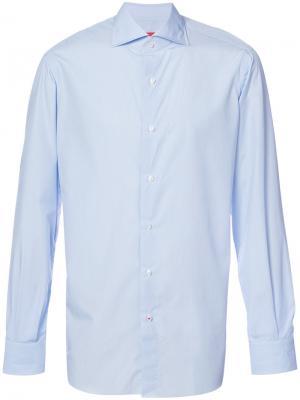 Классическая рубашка с длинными рукавами Isaia. Цвет: синий