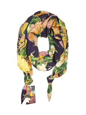 Двойной шелковистый шарф-долька с узелками; серия Апрель Оланж Ассорти. Цвет: светло-зеленый, лиловый, светло-бежевый