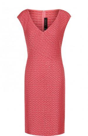 Приталенное мини-платье с V-образным вырезом St. John. Цвет: розовый