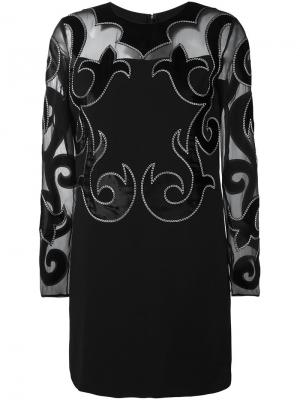 Платье с вышивкой Fausto Puglisi. Цвет: чёрный