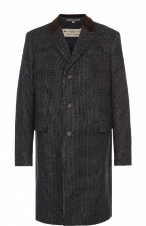 Шерстяное однобортное пальто Burberry. Цвет: коричневый