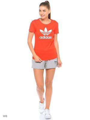 Футболка спортивная жен. TREFOIL TEE Adidas. Цвет: красный