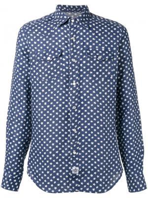 Рубашка с узором из звезд Hydrogen. Цвет: синий