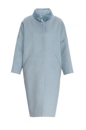 Утепленное пальто с норковой отделкой 161177 Anna Dubovitskaya. Цвет: синий