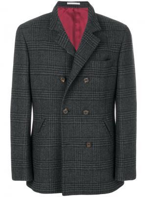 Пальто прямого кроя на пуговицах Brunello Cucinelli. Цвет: серый