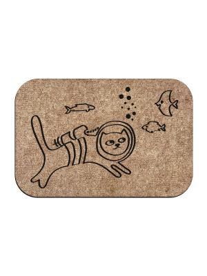 Коврик придверный Кот аквалангист MoiKovrik. Цвет: темно-бежевый